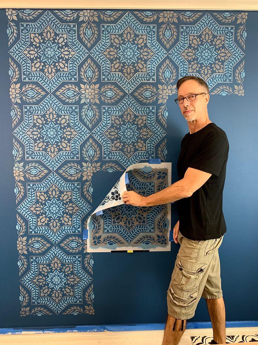 Photo of Portuguese tile stencil pattern – Painted tile design – Spanish tile stencils