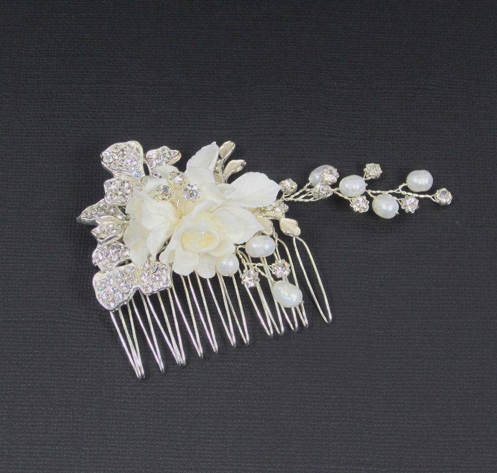 Pearl Flower Bridal Comb Bridal hair comb by adrianasparksacc, $21.00