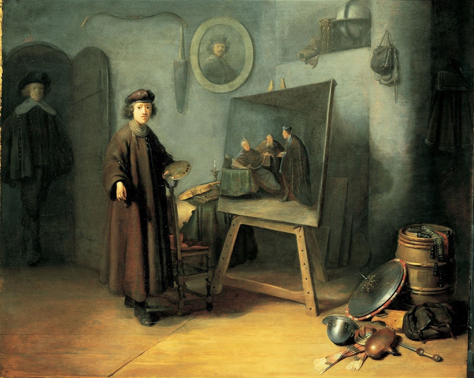 "Gerrit Dou: A painter in his studio, c. 1628. Dou was Rembrandt's pupil in 1628. This painting, which was previously known as ""Rembrandt in his Studio"", shows the sort of objects that an artist might collect in his workroom, all in the service of his art. It should be seen as the ideal of a studio."