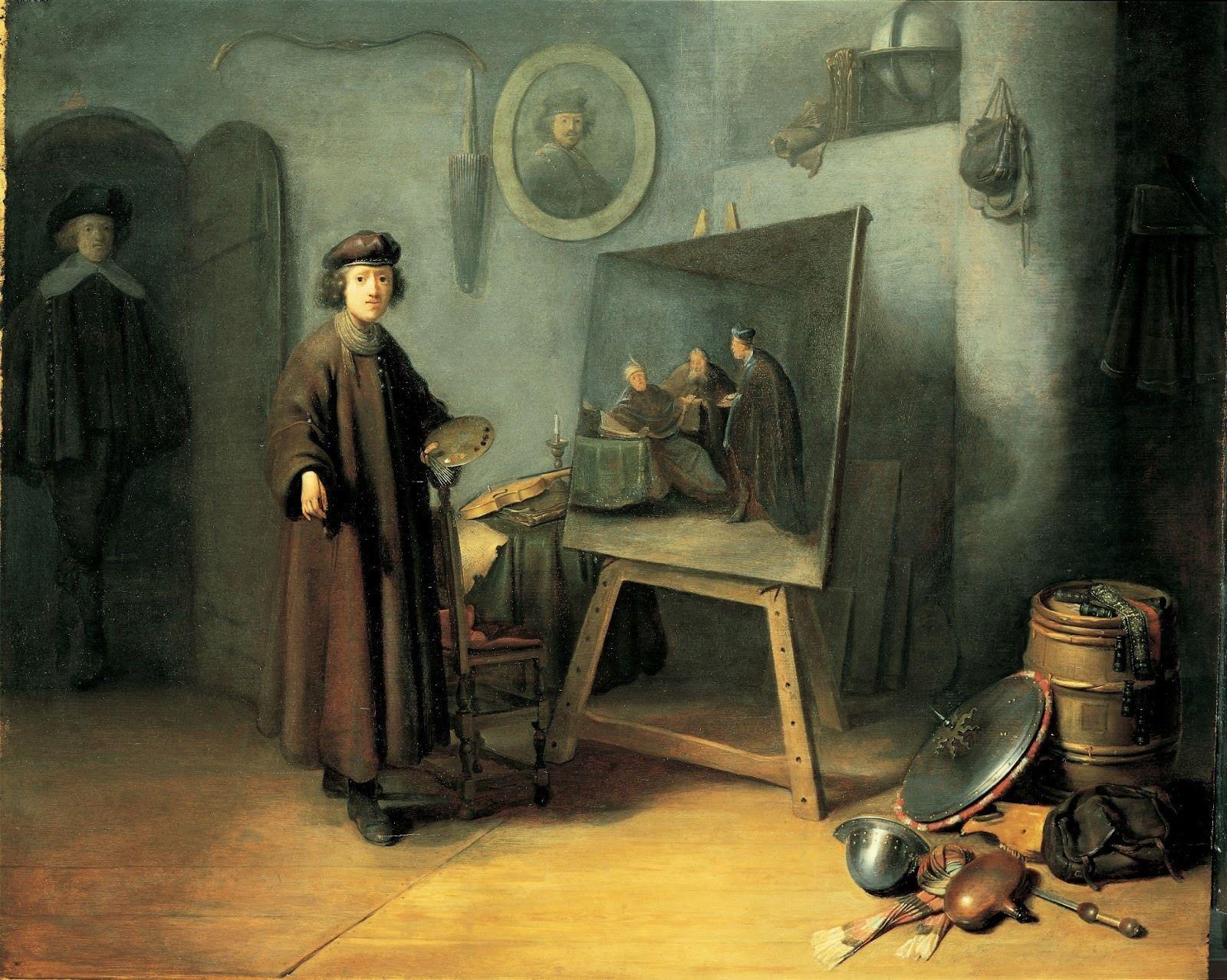 Gerrit Dou: A painter in his studio, c. 1628. Dou was Rembrandt's