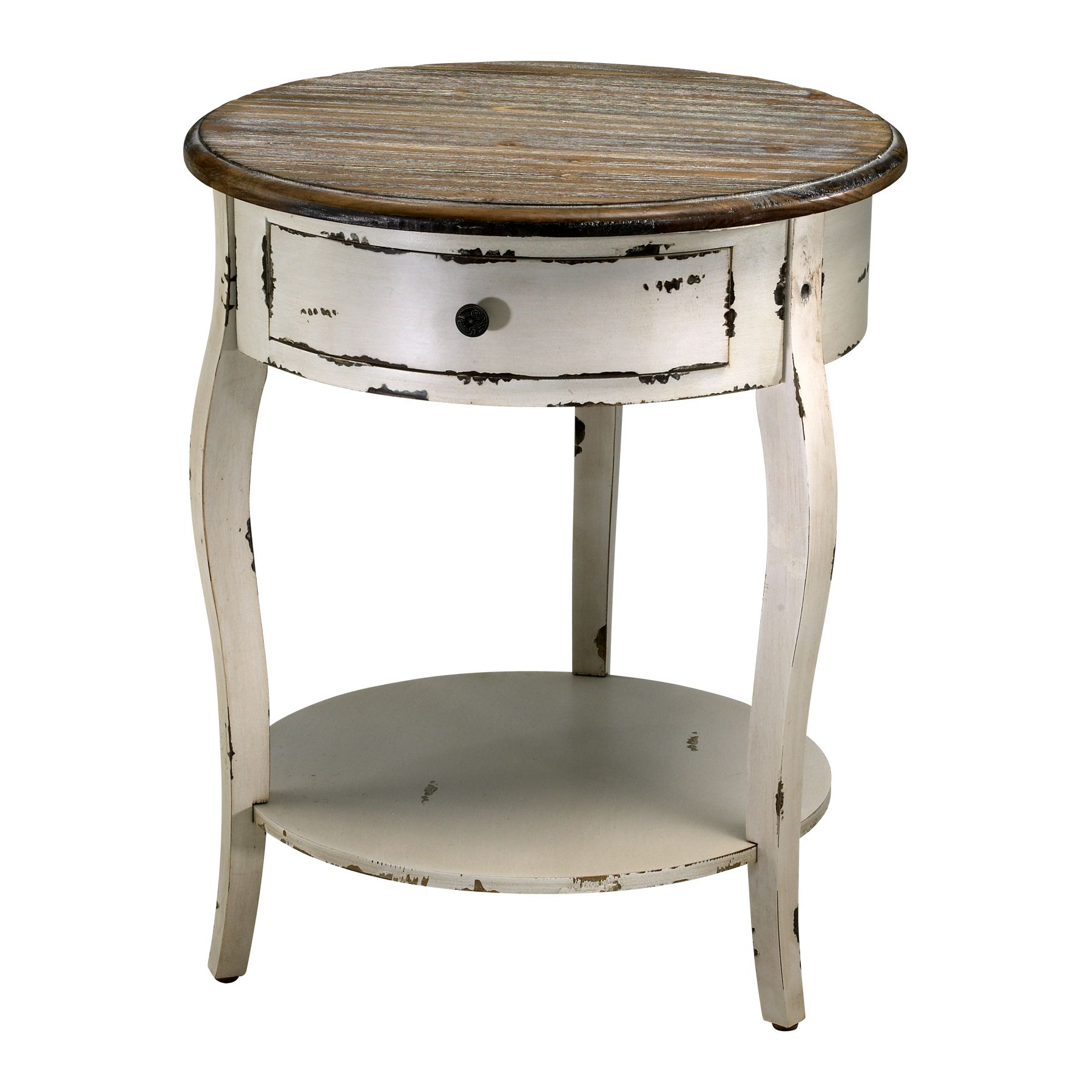White Wooden End Tables Abelard Distressed White Wood Round Accent Side Table