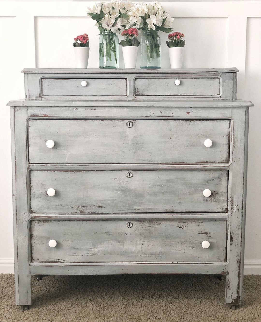 French Country Love Beautiful Antique Dresser 295 Turn Of The Century Solid Wood Drawers Are Dove Grey Bedroom Furniture Furniture Refinishing Furniture [ 1334 x 1080 Pixel ]