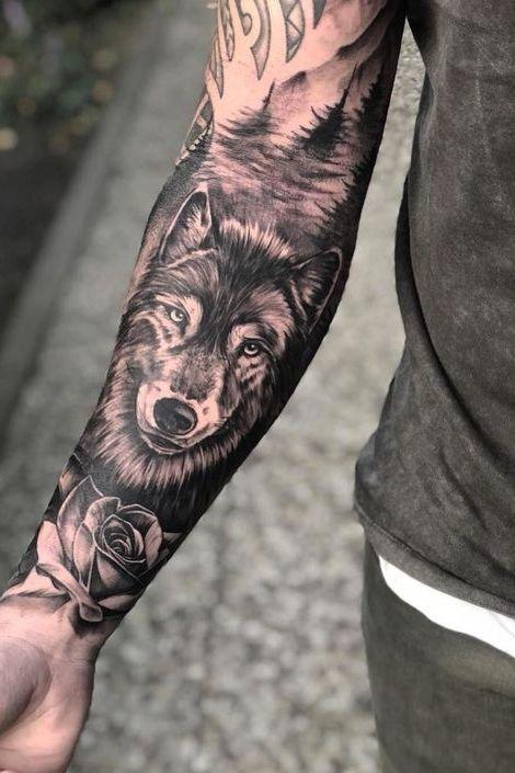 Wolf Forearm Tattoo Tattoos For Guys Wolf Tattoo Sleeve Wolf Tattoos