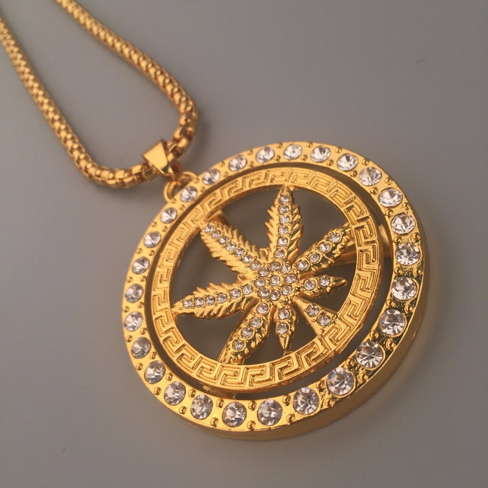 New 24K Golden Iced Out Bling Rotate Weed Leaf Charm Hip