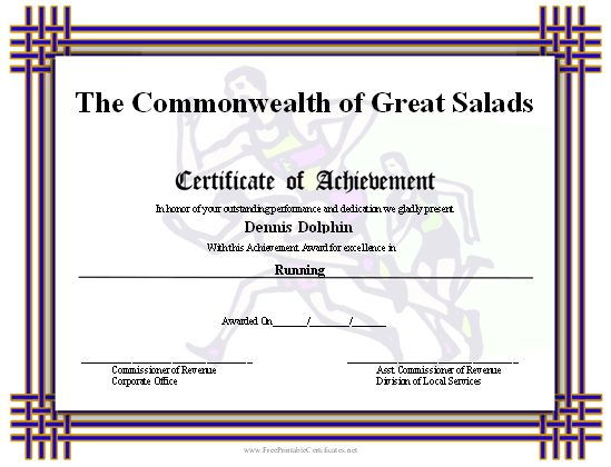 This printable certificate of achievement has runners in for Running certificates templates free