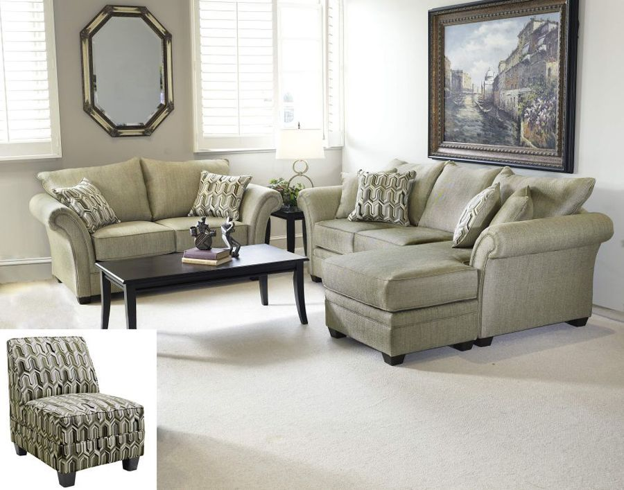 New  Marlo Graphite  Loveseat and sofa w/ chaise. Light green and : chenille sofa with chaise - Sectionals, Sofas & Couches