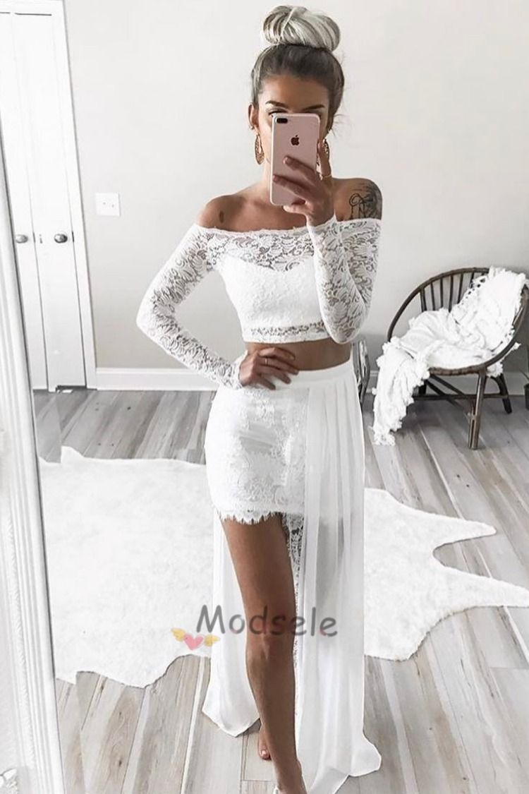 Sexy Long Sleeves Prom Dress Two Piece Prom Dress Off The Shoulder