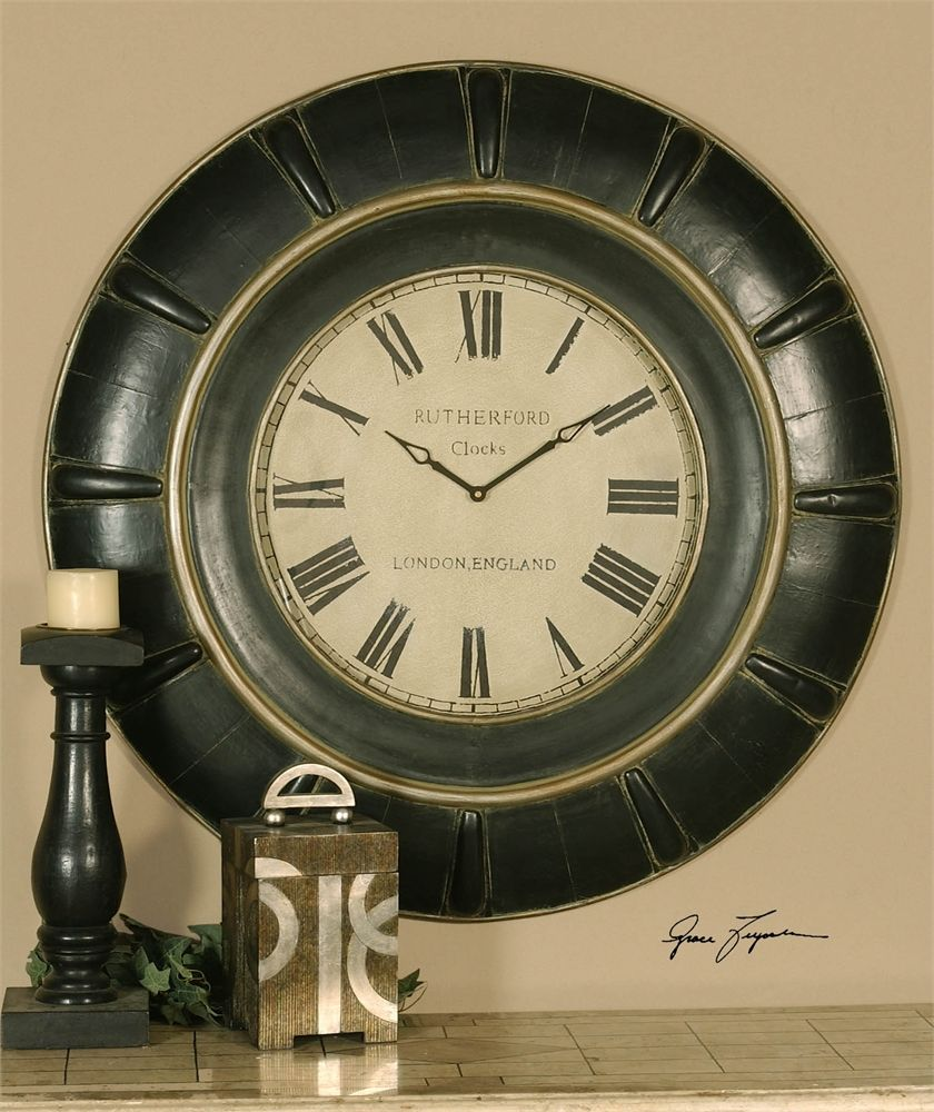 I Love This Huge Wall Clock At 37 Round And 3 Deep It Has Become A Best Seller Find This On Our Website Clocksa Oversized Wall Clock Rustic Black Wall Clock