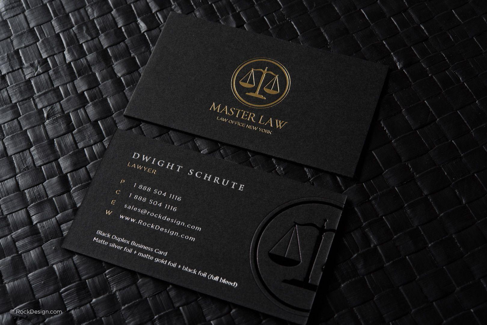 Classic modern black duplex attorney business card templat