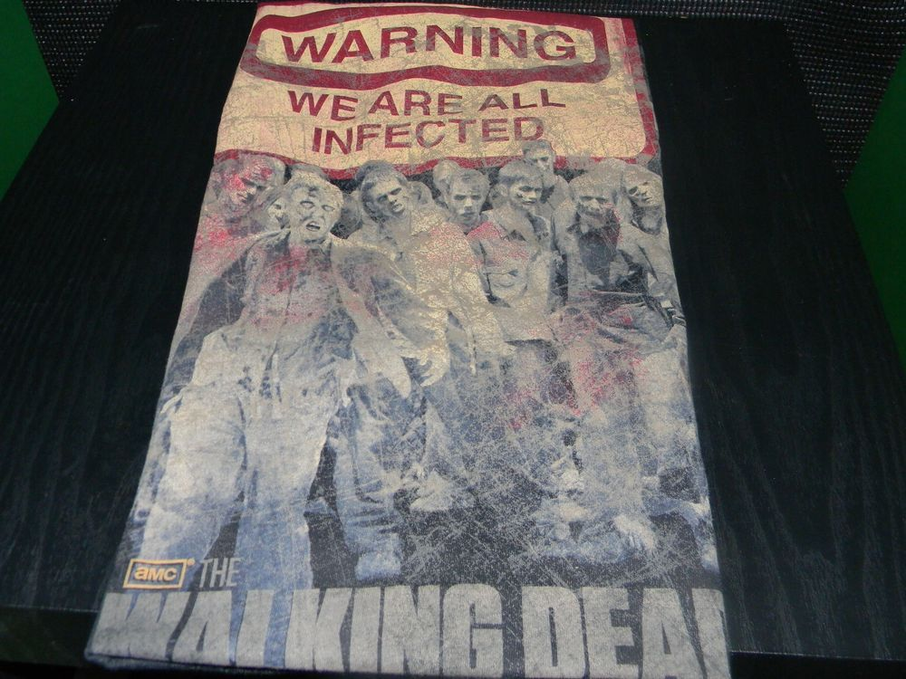 The Walking Dead Warning Sign We Are All Infected Licensed AMC Adult T-shirt #GraphicTee