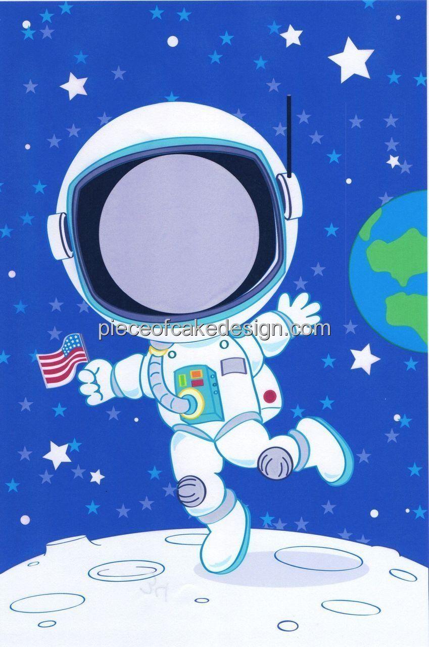 Sheet  Astronaut Photo Frame Birthday  Edible Image Cake - Astronaut decorations