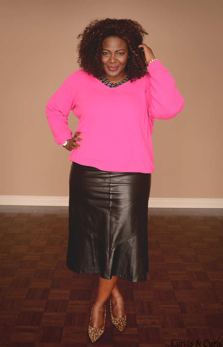 Pink Sweater   Leather skirt | Curves