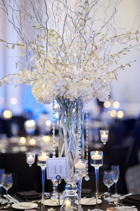 Crystal Centerpieces Wedding Reception Centerpieces White Weddings Reception Reception Decorations