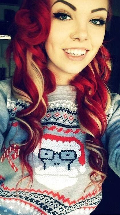 Red with blonde in a Decedents Christmas Sweater! Hot!