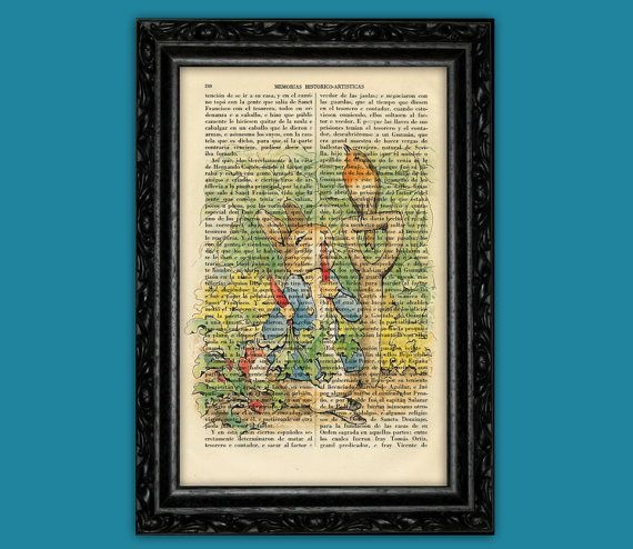 Peter Rabbit Vintage Dictionary Page Wall Art Picture Print Beatrix Potter Quote