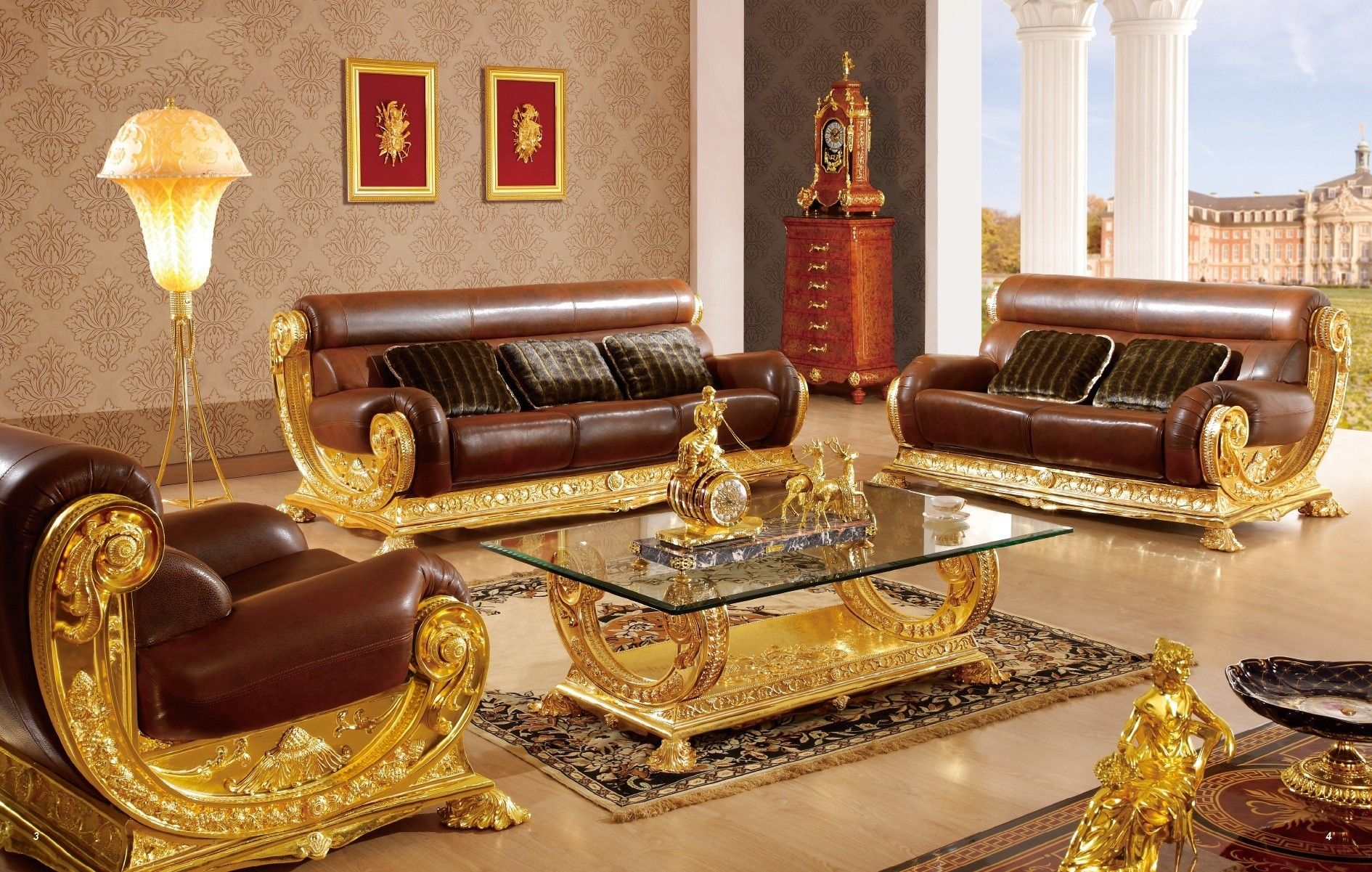 Luxury Brown Gold Sofa Furniture For Italia Style Living Room