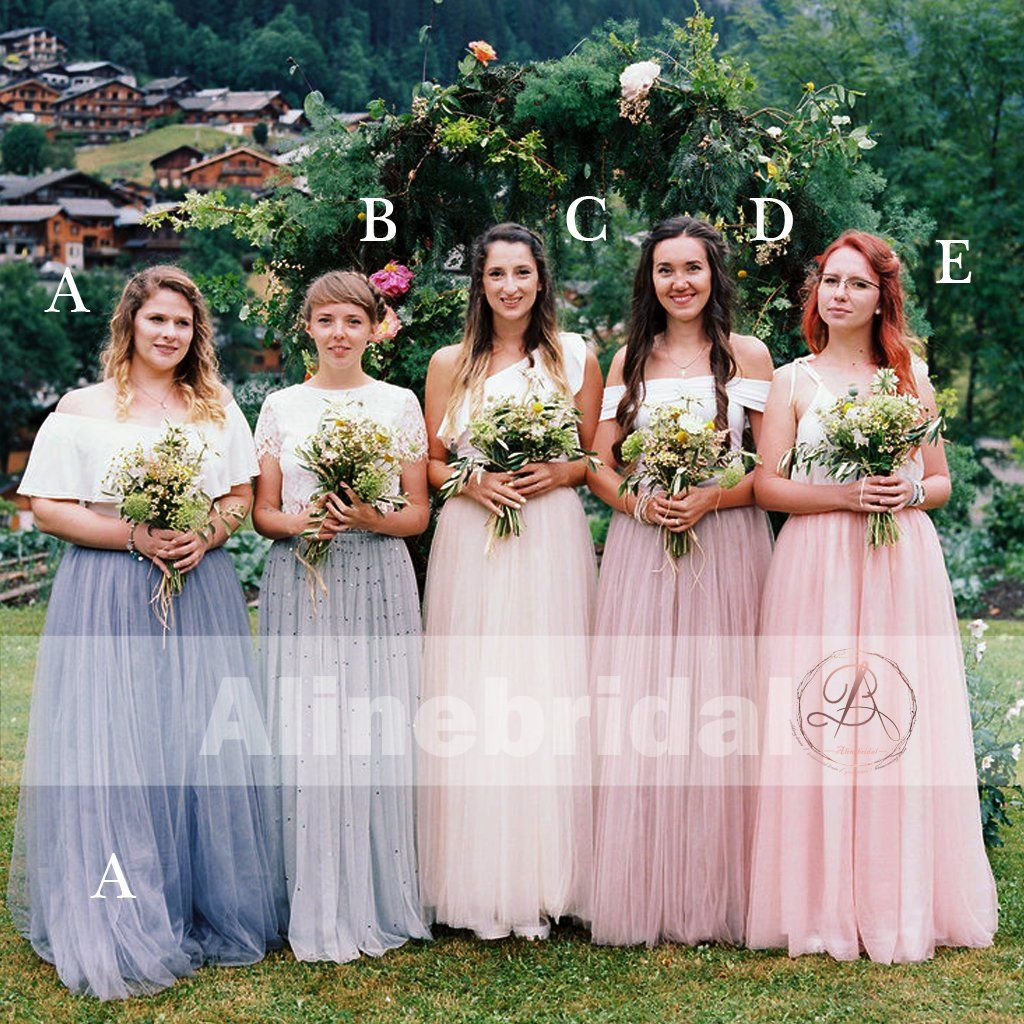 a50f4dfeb9d Mismatched Tulle Pastel Color Fashion Bridesmaid Dresses For Country Wedding