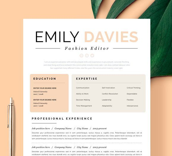 Resume Template 1 page \
