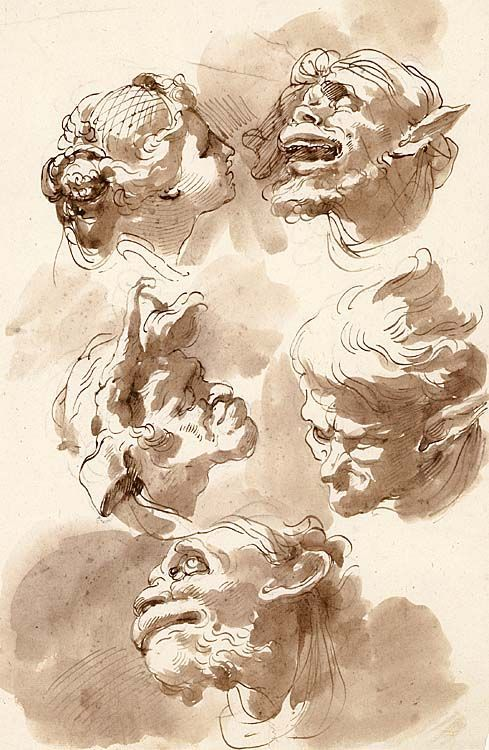 Heads pen and wash favorite pen ink etchings lithograph ubaldo gandolfi stteo della decima 1728 1781 ravenna head studies mostly satirical blackchalk underdrawing pen brown ink brush wash sciox Gallery
