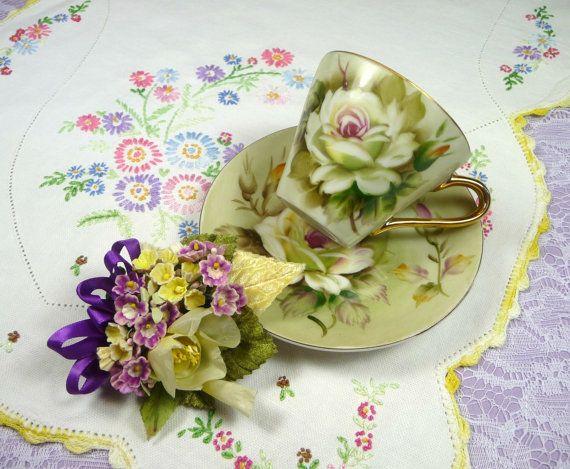 Vintage Teacup & Saucer Demitasse Roses with Vintage by meaicp, $35.00