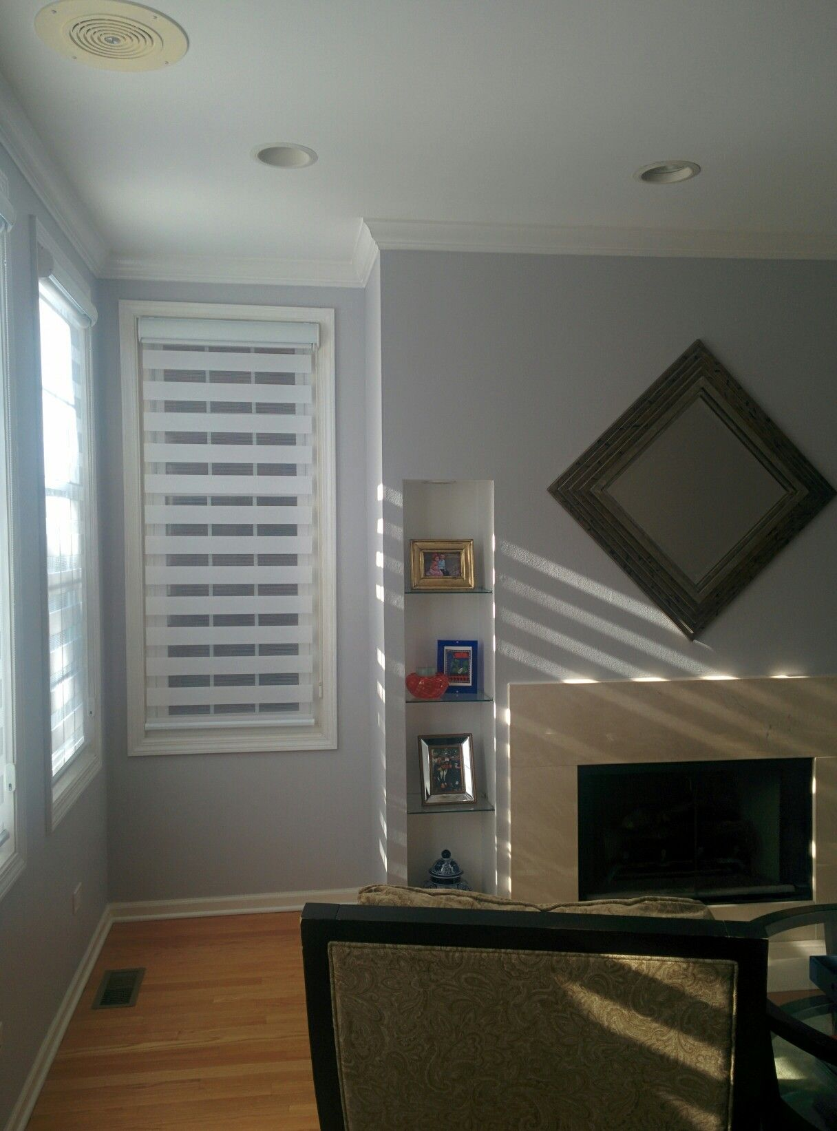 Behr silver screen in our living room gray paint colors - Gray paint living room ...
