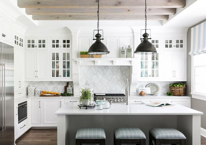 White Farmhouse Kitchen With Bleached Ceiling Beams White Farmhouse Kitchen With Bleached Ceiling Kitchen Interior White Kitchen Design Kitchen Cabinet Design