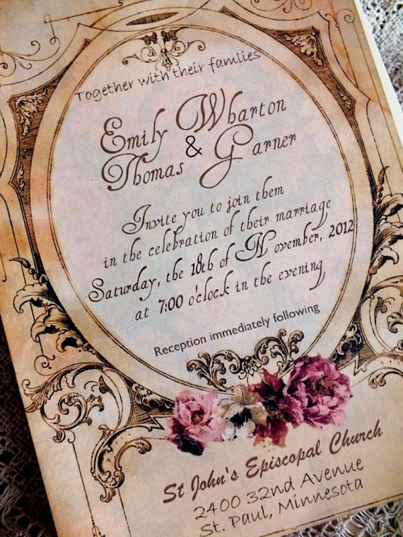 Wedding Invitation With Vintage Background Sample