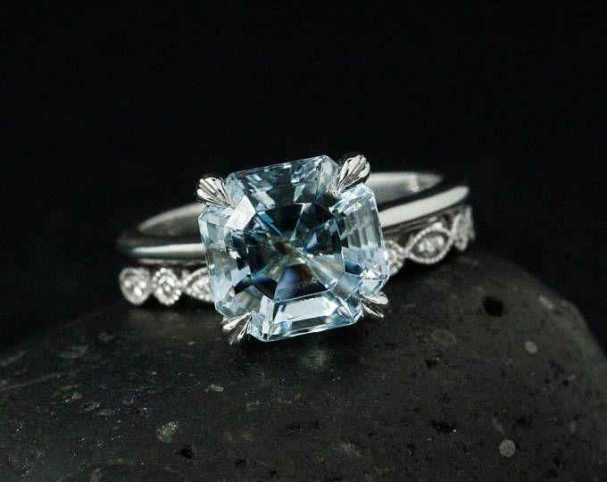 7165c87e1df Blue Aquamarine Engagement Ring – Half Eternity Single Diamond Milgrain Leaf  Shape   Round Shape Wedding Band