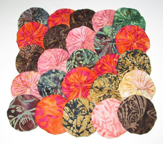 25 Beautiful Cotton Batik Fabric 2 YoYos by YoyosAndMoreByJill