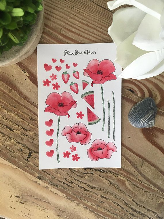 Red Themed Floral Poppy Bullet Journal / Planner Stickers | Products
