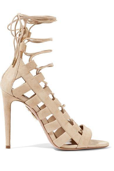 619b2cc02aa9 AQUAZZURA Amazon lace-up suede sandals.  aquazzura  shoes  sandals ...