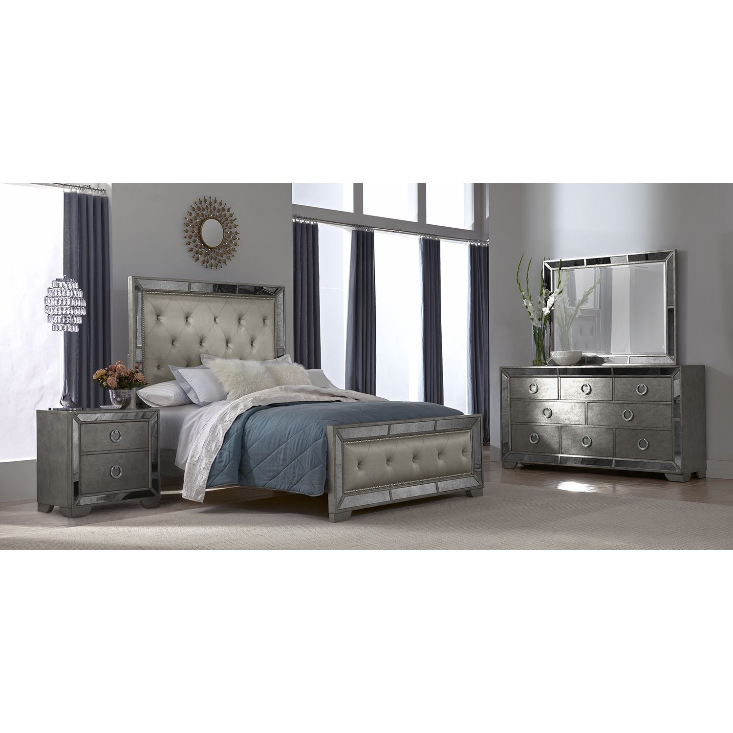 Angelina 6 pc king bedroom american signature furniture for Master bedroom sets queen