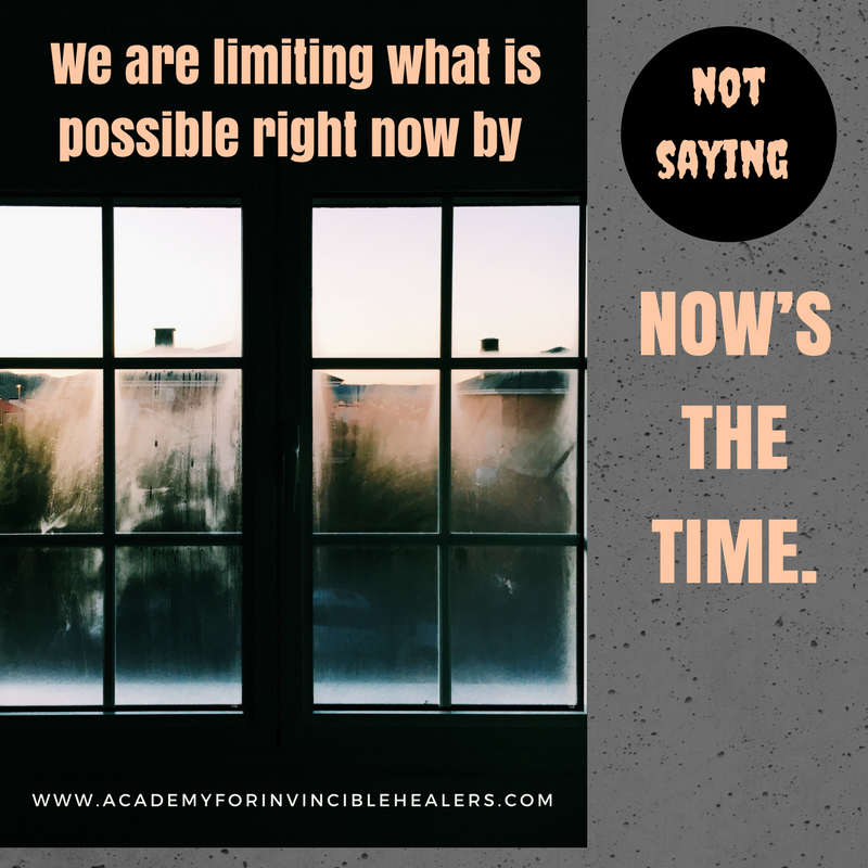 We Are Limiting What Is Possible Right Now By Not Saying