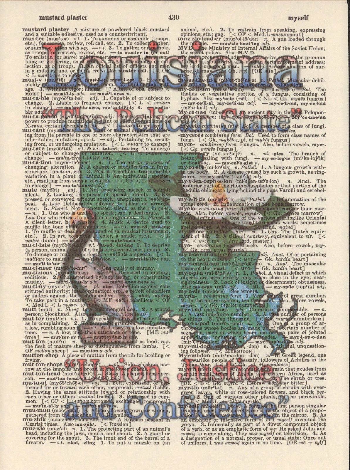 Louisiana State Map Symbols Altered Art Print Upcycled Vintage