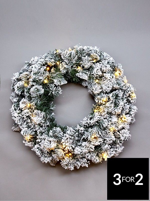 PreLit Flocked Emperor Christmas Wreath Christmas
