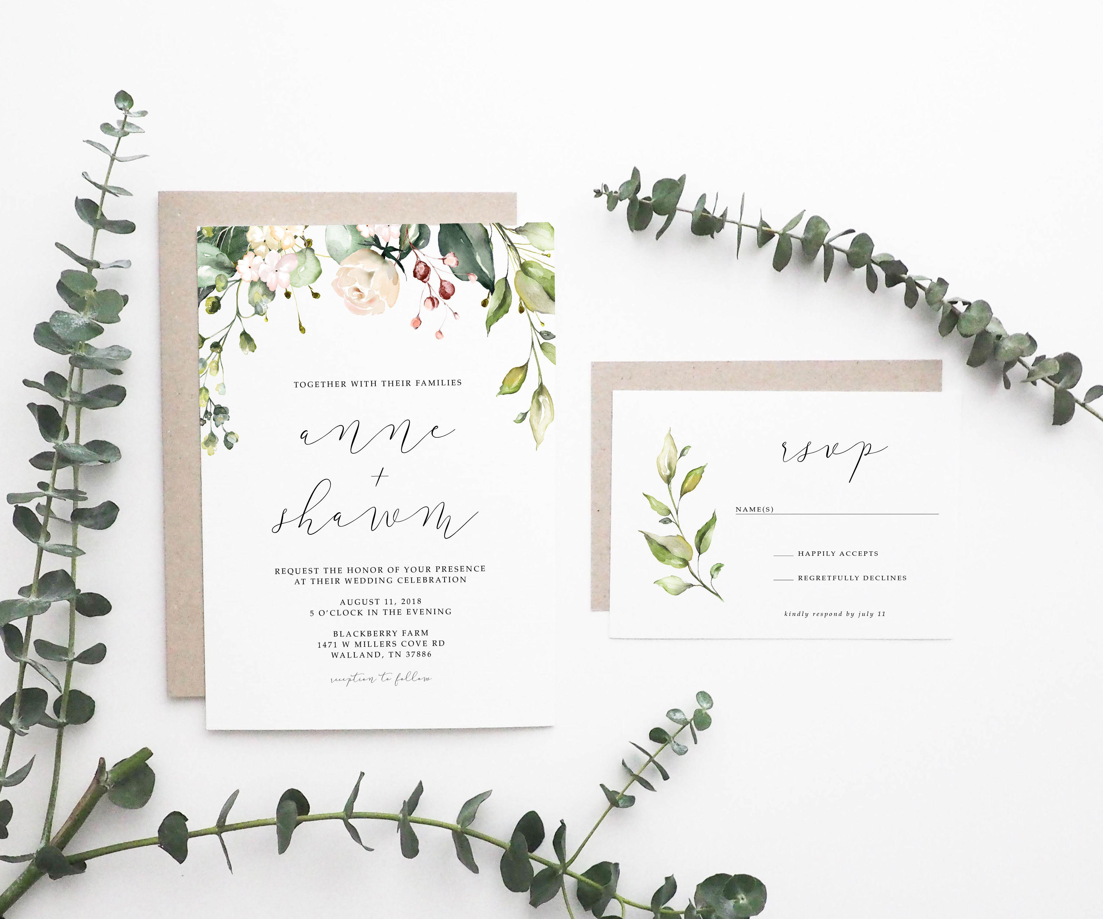 Wedding Invitation Simple Wedding Invitation Floral Wedding