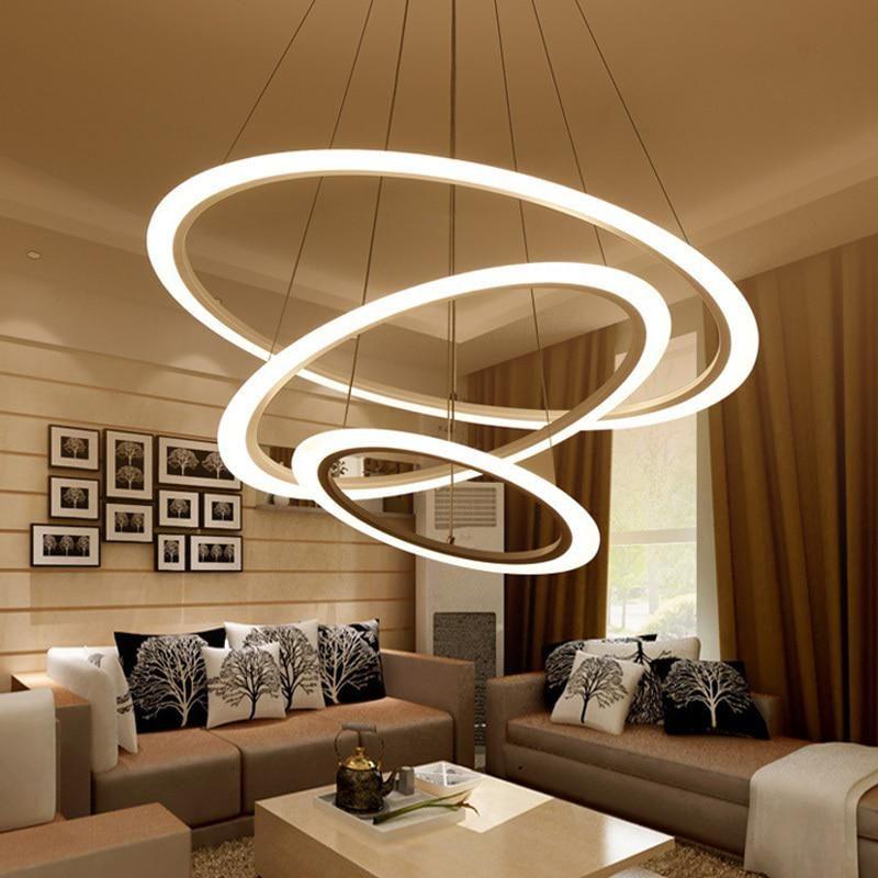 Modern Led Pendant Lights Fixtures Ring Dining Living Room