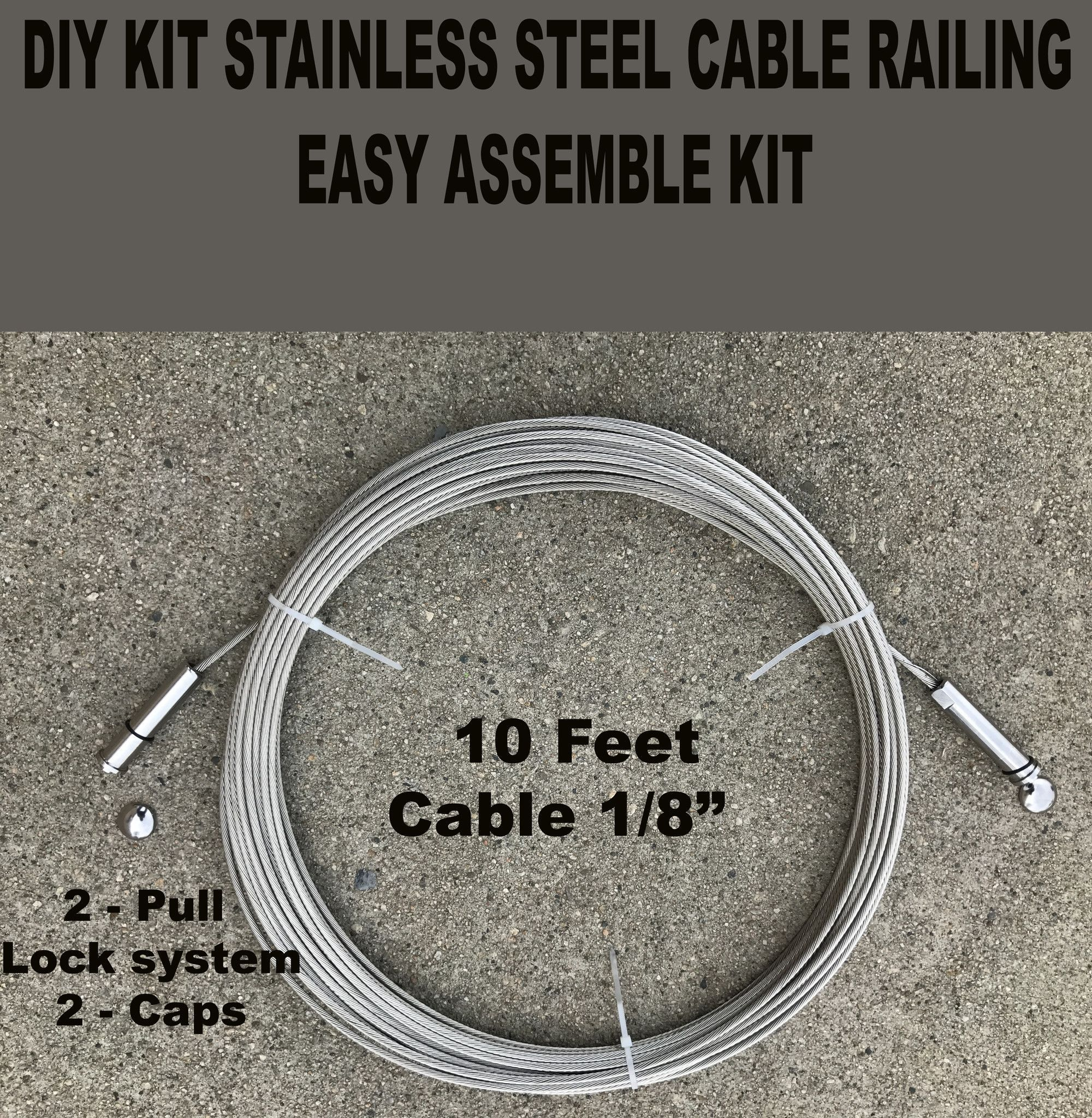 DIY Stainless Steel Cable Deck Porch Cable Railing 10ft + Kit Pull ...