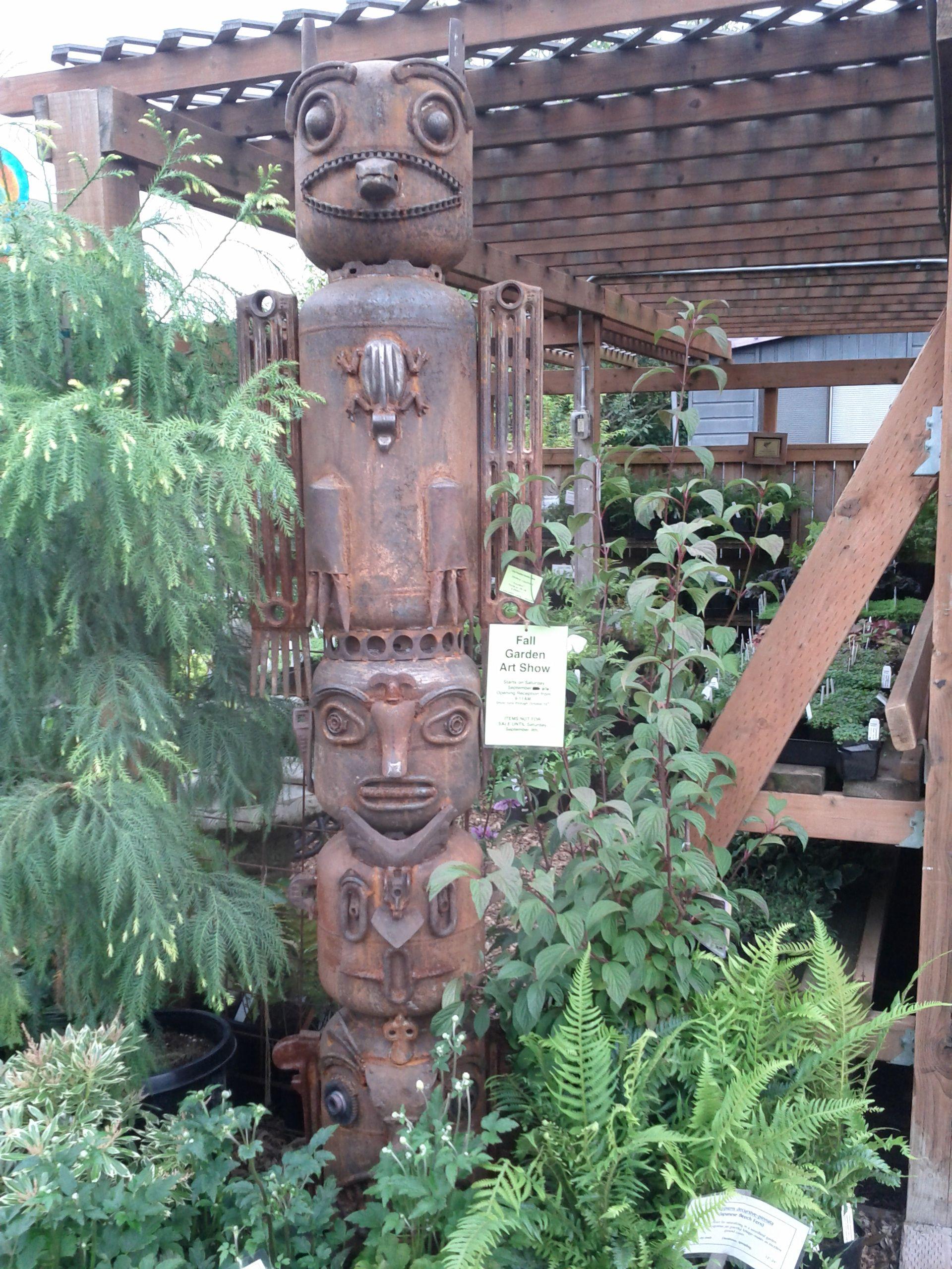 Denny croston garden totem scrap metal art garden totem