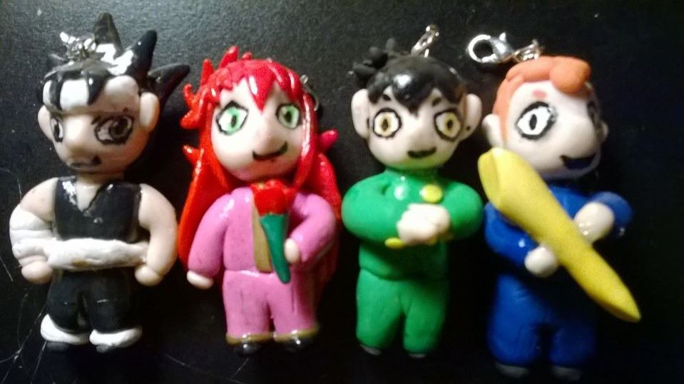 This is my chibi necklaces form yu yu hakusho!!!! The set is available for sale on my etsy channel, if you just want one figure just ask me and i'll give you a price!