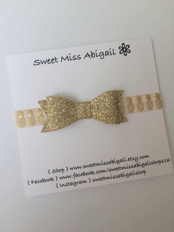 Gold headband gold pineapple headband baby girl headband by