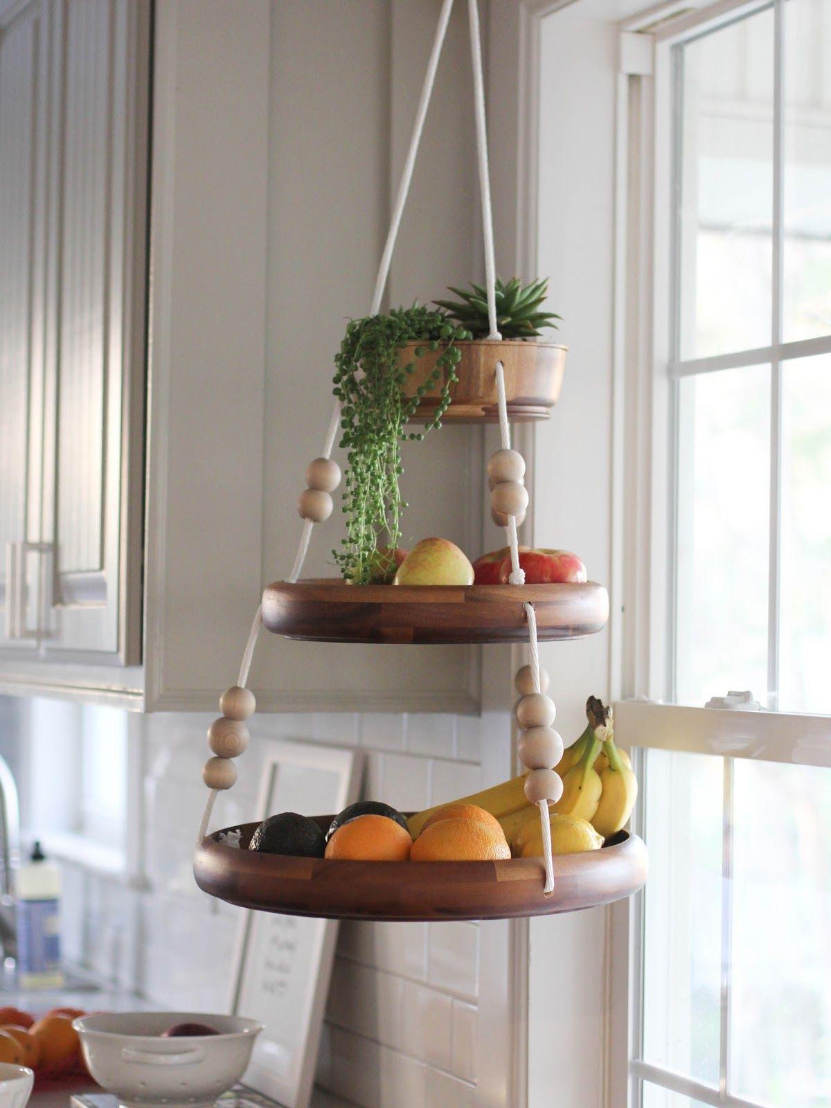 Wooden Hanging Fruit Basket Fruit Baskets Diy Home Decor