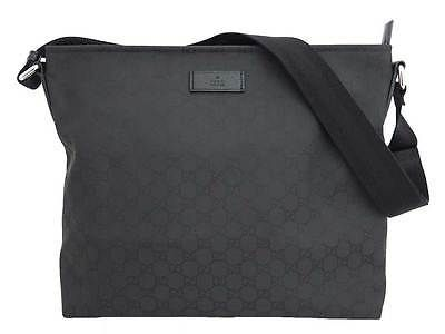 ac749669234 Auth Gucci GG Nylon Messenger Shoulder Bag Black Nylon Canvas - e27046