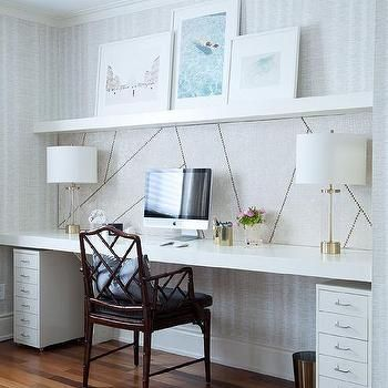 File Cabinets Under Wall To Wall Floating Desk Home Office Design Home Office Decor Guest Room Office