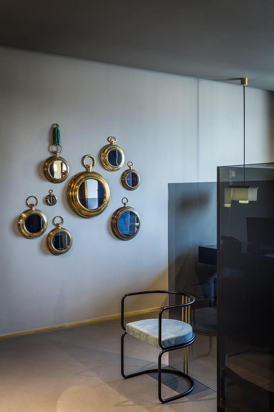Decorative mirrors for dining room boglioli showroom milan  dimorestudio  dimore studio  pinterest