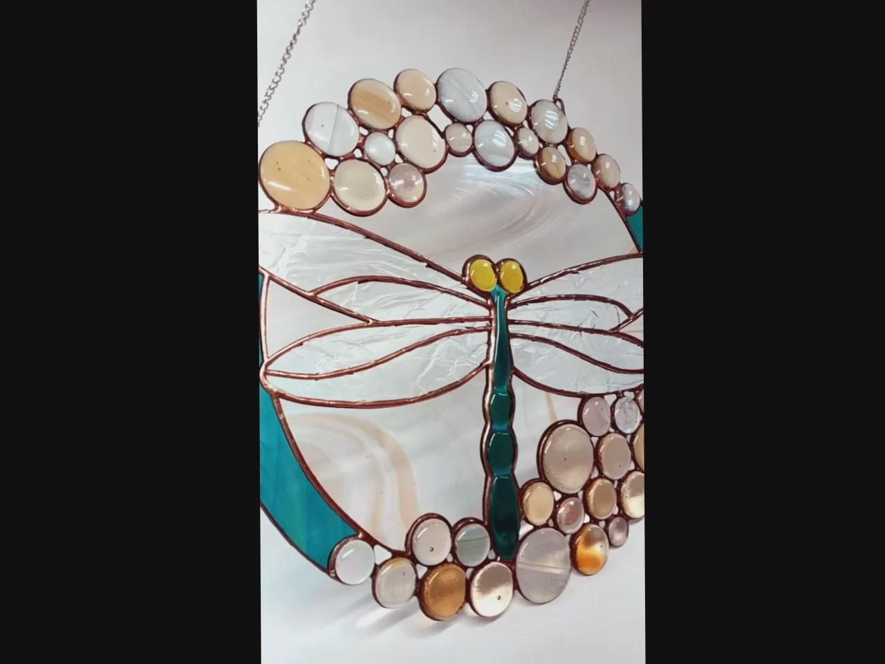 Suncatcher Dragonfly Window Hangings Mothers Day Gift Garden Stained Glass Dragonfly Cabochons