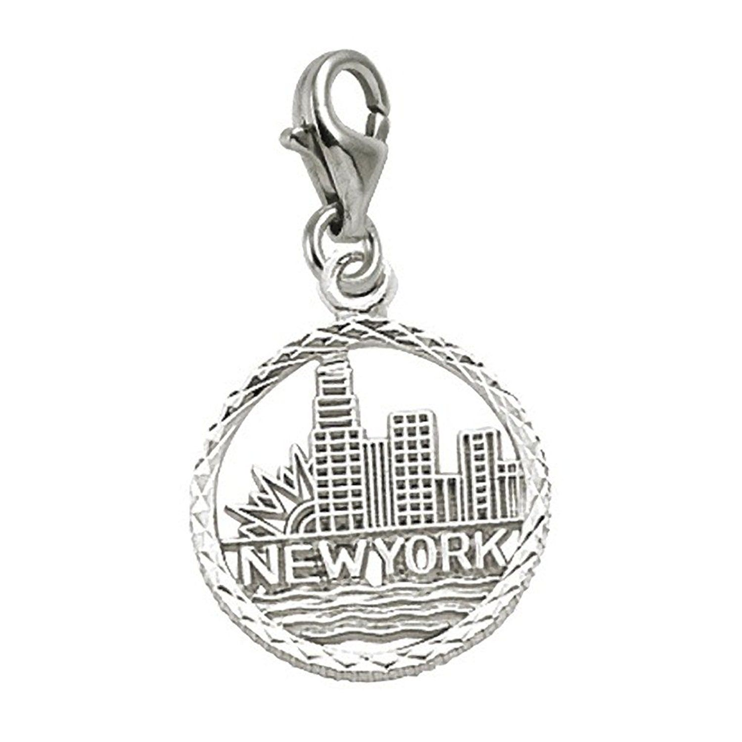 Charms for Bracelets and Necklaces New York Skyline Charm With Lobster Claw Clasp