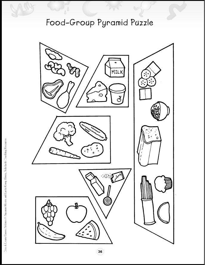 Food Group Pyramid Puzzle Teaching Health Group Meals Food Pyramid Kids Preschool Food Food group worksheets