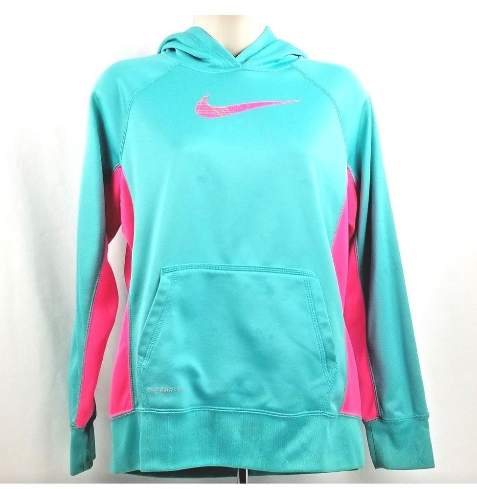 ffba3ad07 Nike Girls Therma-Fit Dri Fit Pullover Hoodie Size XL Turquoise Aqua Blue  Pink  Nike  Everyday