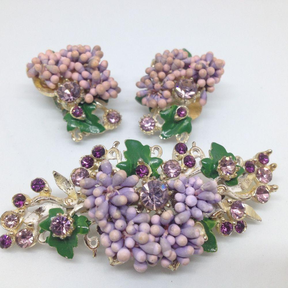 Signed Florenza Vintage Lilac Flower Brooch Pin Clip On Earrings Lavender Enamel